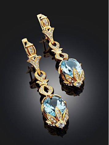 Gorgeous Gilded Silver Topaz Dangle Earrings, image , picture 2