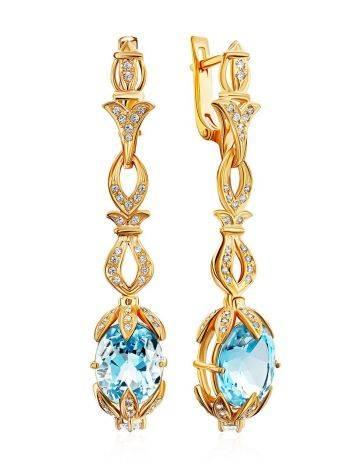 Gorgeous Gilded Silver Topaz Dangle Earrings, image