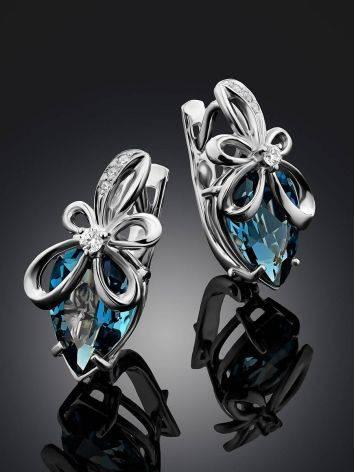 Elegant Silver Topaz Earrings, image , picture 2