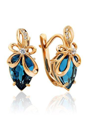Bright Blue Topaz Earrings, image