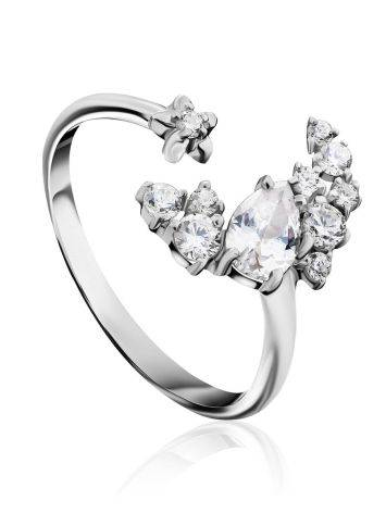 Crescent Motif Silver Crystal Ring, Ring Size: 6.5 / 17, image