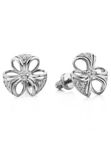 Cute Silver Crystal Stud Earrings, image