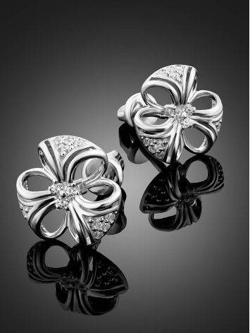 Cute Silver Crystal Stud Earrings, image , picture 2