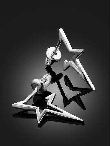 Silver Star Shaped Stud Earrings, image , picture 2