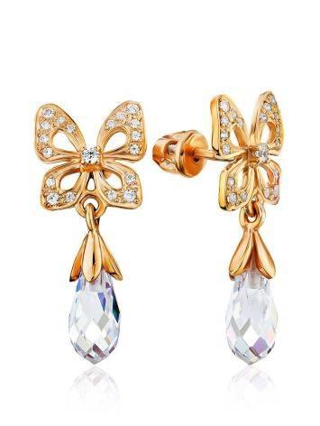 Romantic Design Gilded Silver Crystal Stud Earrings, image