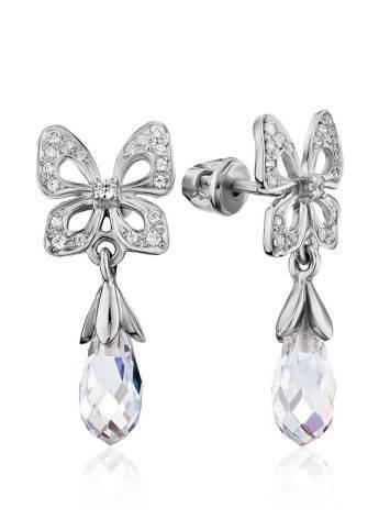 Cute Bow Motif Silver Crystal Dangle Earrings, image