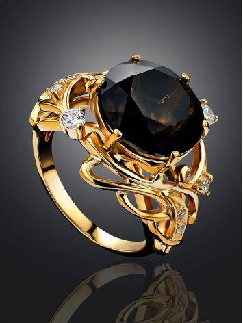 Voluptuous Gilded Silver Smoky Quartz Ring, Ring Size: 7 / 17.5, image , picture 2