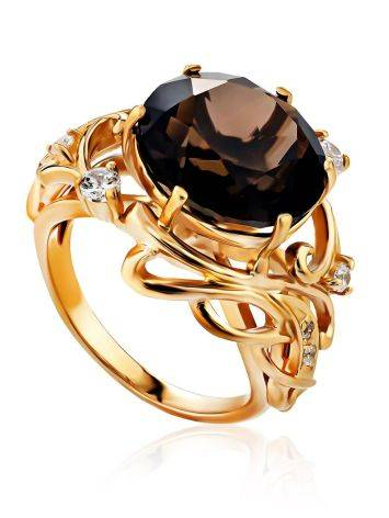 Voluptuous Gilded Silver Smoky Quartz Ring, Ring Size: 7 / 17.5, image