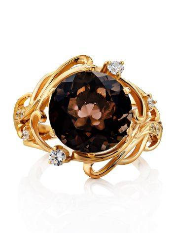 Voluptuous Gilded Silver Smoky Quartz Ring, Ring Size: 7 / 17.5, image , picture 3