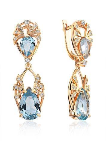 Elegant Gilded Silver Topaz Dangle Earrings, image