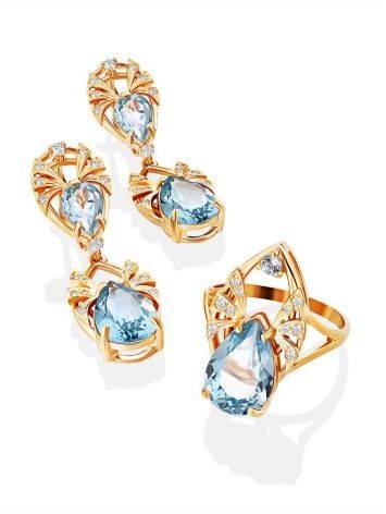 Elegant Gilded Silver Topaz Dangle Earrings, image , picture 4