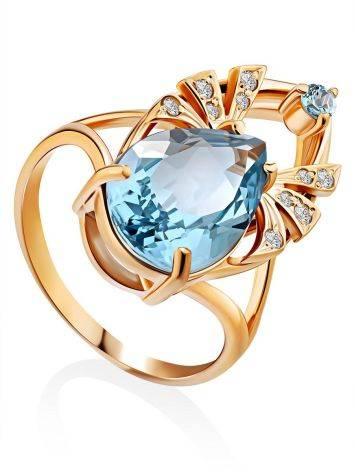 Ultra Feminine Gilded Silver Topaz Ring, Ring Size: 8.5 / 18.5, image