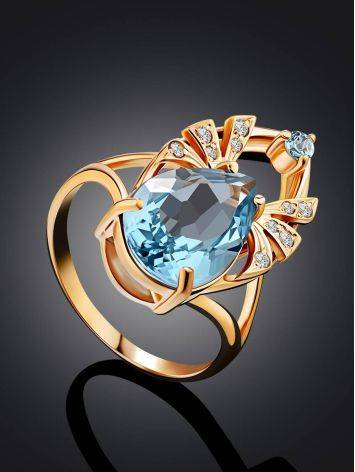 Ultra Feminine Gilded Silver Topaz Ring, Ring Size: 8.5 / 18.5, image , picture 2