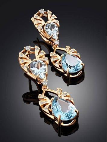 Elegant Gilded Silver Topaz Dangle Earrings, image , picture 2