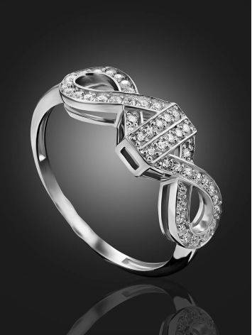 Infinity Motif Silver Crystal Ring, Ring Size: 6.5 / 17, image , picture 2