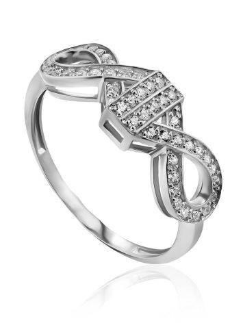Infinity Motif Silver Crystal Ring, Ring Size: 6.5 / 17, image
