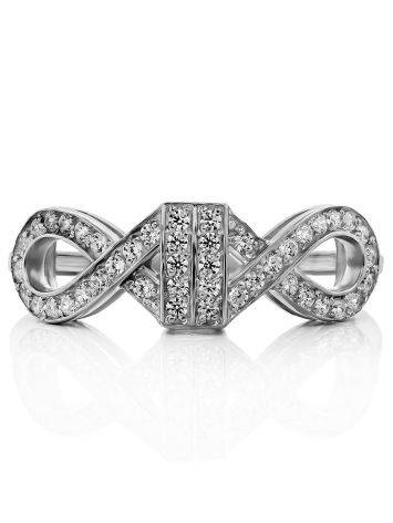 Infinity Motif Silver Crystal Ring, Ring Size: 6.5 / 17, image , picture 3