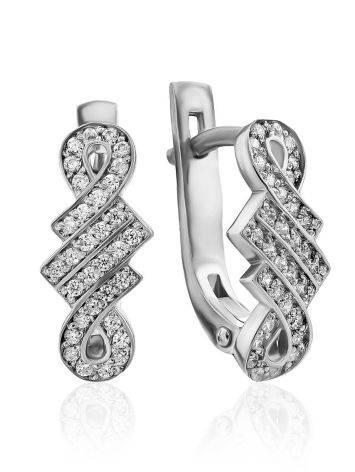 Infinity Motif Silver Crystal Earrings, image