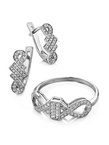 Infinity Motif Silver Crystal Ring, Ring Size: 6.5 / 17, image , picture 4