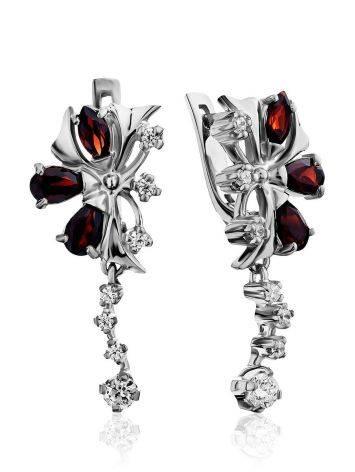Silver Garnet Dangle Earrings, image