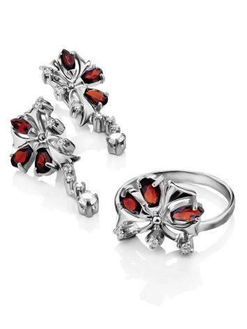 Silver Garnet Dangle Earrings, image , picture 3