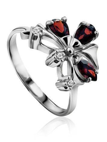 Stylish Silver Garnet Ring, Ring Size: 6.5 / 17, image