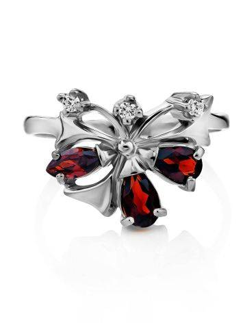 Stylish Silver Garnet Ring, Ring Size: 6.5 / 17, image , picture 3