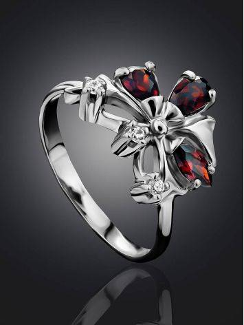 Stylish Silver Garnet Ring, Ring Size: 6.5 / 17, image , picture 2