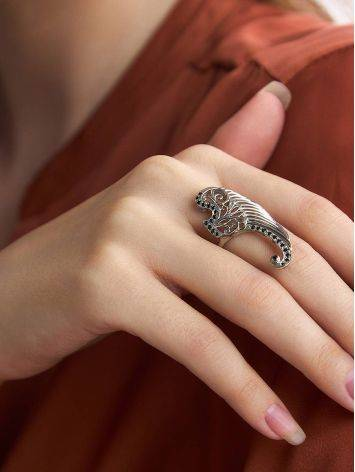 Wing Motif Silver Crystal Ring, Ring Size: 6.5 / 17, image , picture 3