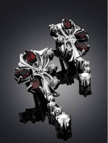 Silver Garnet Dangle Earrings, image , picture 2