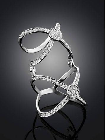 Trendy Silver Crystal Articulated Ring, Ring Size: 6 / 16.5, image , picture 2