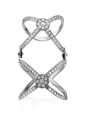 Trendy Silver Crystal Articulated Ring, Ring Size: 6 / 16.5, image , picture 3