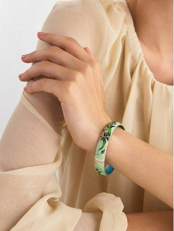 Silver Enamel Iris Motif Bangle Bracelet, image , picture 3