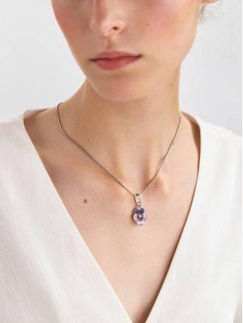 Violet Motif Silver Enamel Pendant, image , picture 3