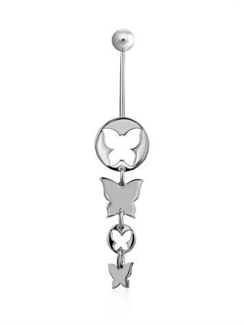 Butterfly Motif Sterling Silver Navel Piercing, image