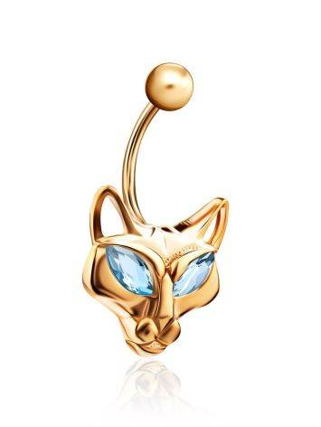 Catlike Design Gilded Silver Topaz Belly Button Ring, image , picture 3