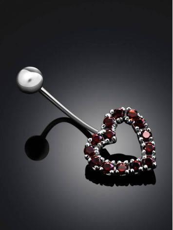 Cute Heart Motif Silver Garnet Navel Piercing, image , picture 2