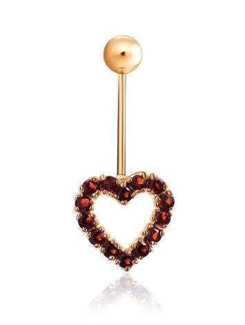 Cute Heart Motif Gilded Silver Garnet Navel Piercing, image