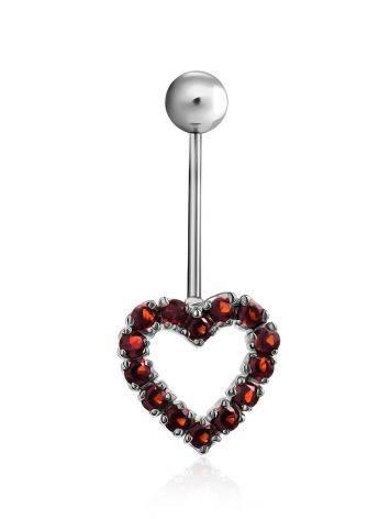 Cute Heart Motif Silver Garnet Navel Piercing, image