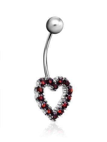 Cute Heart Motif Silver Garnet Navel Piercing, image , picture 3
