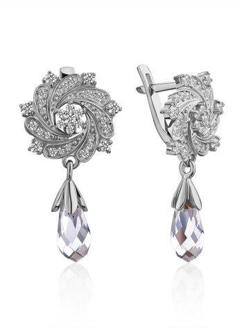Chic Silver Crystal Earrings, image
