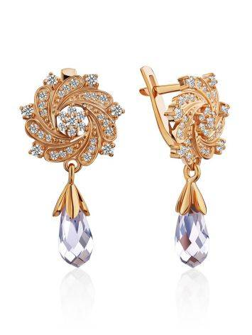 Chic Gilded Silver Crystal Dangle Earrings, image