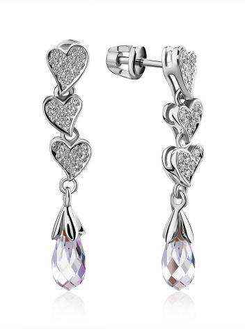Cute Heart Motif Silver Crystal Stud Dangle Earrings, image
