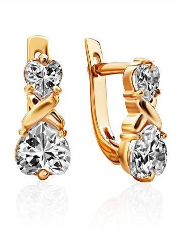 Heart Motif Gilded Silver Crystal Earrings, image