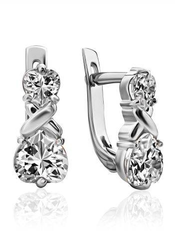 Heart Motif Silver Crystal Earrings, image
