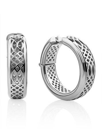 Chunky Silver Hoop Earrings, image