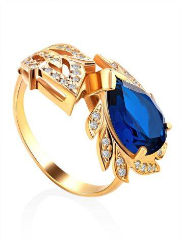 Feather Motif Gilded Silver Blue Spinel Ring, Ring Size: 7 / 17.5, image