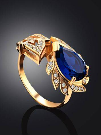 Feather Motif Gilded Silver Blue Spinel Ring, Ring Size: 7 / 17.5, image , picture 2