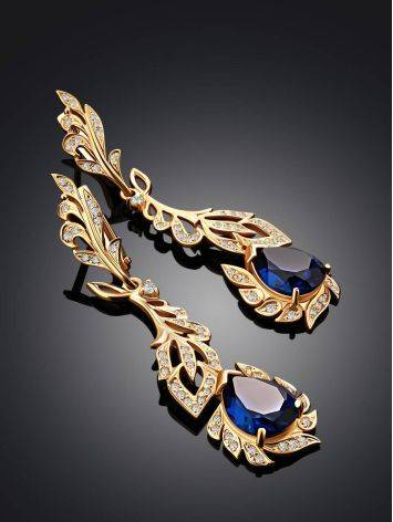 Feather Motif Gilded Silver Blue Spinel Earrings, image , picture 2