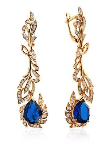 Feather Motif Gilded Silver Blue Spinel Earrings, image